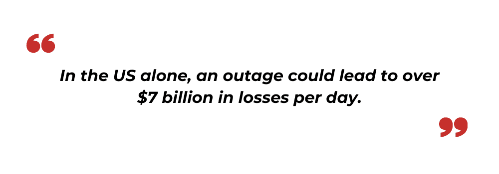 Internet outage losses US